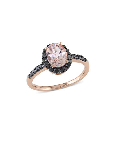 Concerto Morganite and 0.25 Total Carat Weight Black Diamond with 14K Rose Gold Halo Ring-MULTI-7