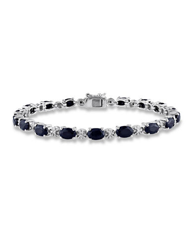 Concerto Sterling Silver Natural Black Sapphire and 0.02TCW Diamond Bracelet-BLACK-One Size