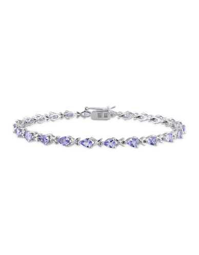Concerto Sterling Silver Tanzanite X-Link Bracelet-BLUE-One Size