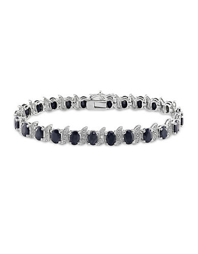 Concerto Sterling Silver Black Sapphire and 0.03TCW Diamond Bracelet-BLACK-One Size