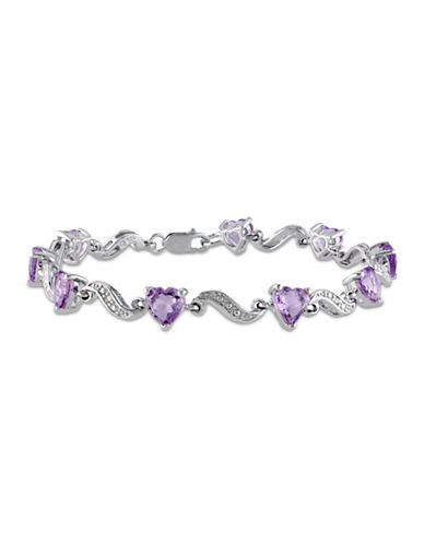 Concerto Amethyst Sterling Silver and 0.02 TCW Diamond Heart Bracelet-PURPLE-One Size