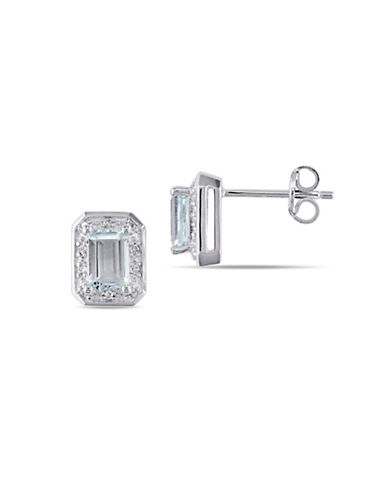 Concerto Aquamarine Sterling Silver and 0.10 TCW Diamond Stud Earrings-BLUE-One Size