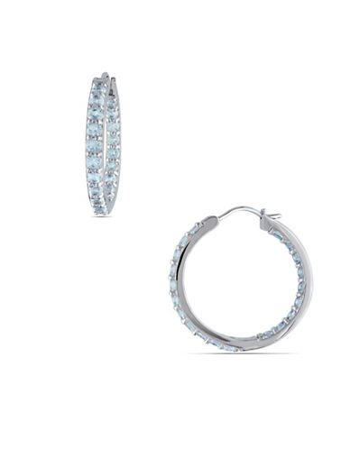 Concerto Inside Outside Aquamarine Sterling Silver Hoop Earrings-AQUAMARINE-One Size