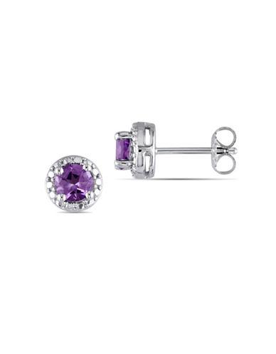 Concerto Amethyst Halo Sterling Silver Stud Earrings-PURPLE-One Size
