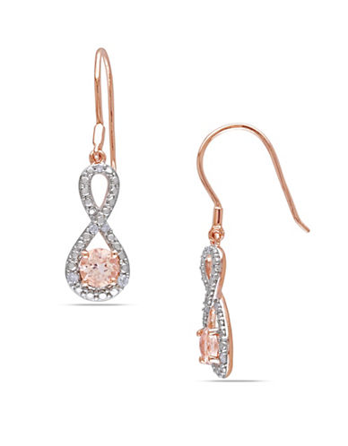 Concerto Morganite Pink-Plated Sterling Silver and  0.10 TCW Diamond Infinity Earrings-MORGANITE-One Size