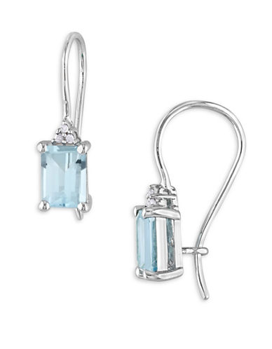 Concerto Blue Topaz Sterling Silver and 0.3 TCW Diamond Drop Earrings-BLUE-One Size