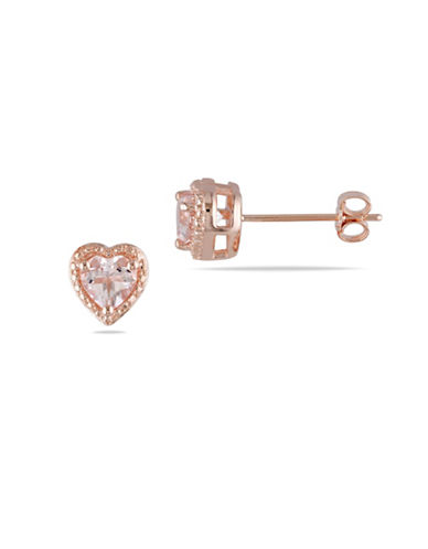 Concerto 1.3 TCW Morganite Heart Pinkplated Sterling Silver Stud Earrings-PINK-One Size