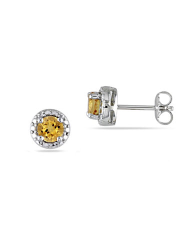 Concerto Citrine Halo Stud Sterling Silver Earrings-YELLOW-One Size