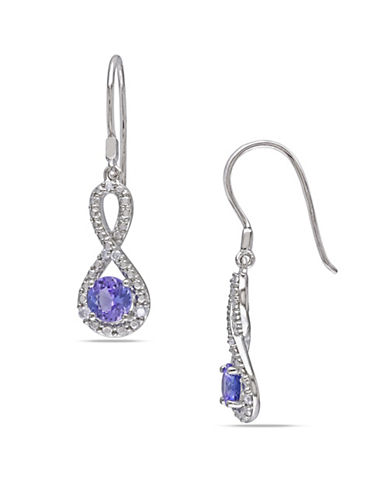 Concerto Tanzanite Sterling Silver and 0.10 TCW Diamond Infinity Earrings-TANZANITE-One Size