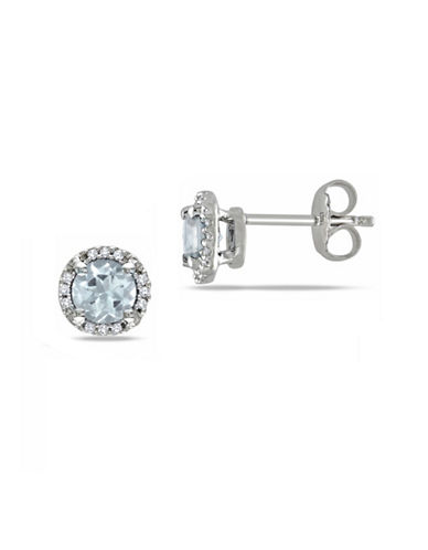 Concerto 0.5 TCW Diamond and Aquamarine Halo Sterling Silver Stud Earrings-BLUE-One Size