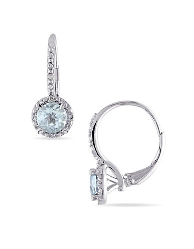 Concerto Aquamarine Sterling Silver and 0.06 TCW Diamond Halo Earrings-BLUE-One Size