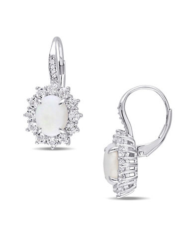 Concerto Opal White Topaz Sterling Silver and  0.04 TCW Diamond Accent Earrings-OPAL-One Size