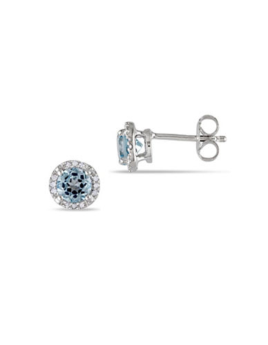 Concerto Blue Topaz Sterling Silver and 0.07 TCW Diamond Halo Stud Earrings-BLUE-One Size