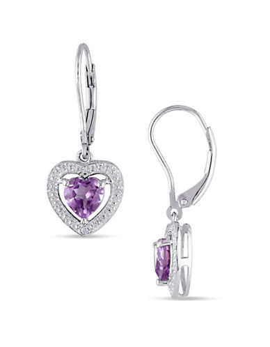 Concerto 0.01 TCW Diamond and Amethyst Heart Sterling Silver Earrings-PURPLE-One Size