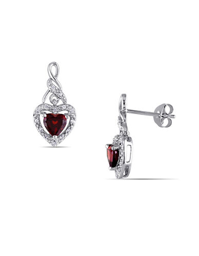 Concerto 0.126 TCW Diamond and Garnet Heart Sterling Silver Earrings-RED-One Size