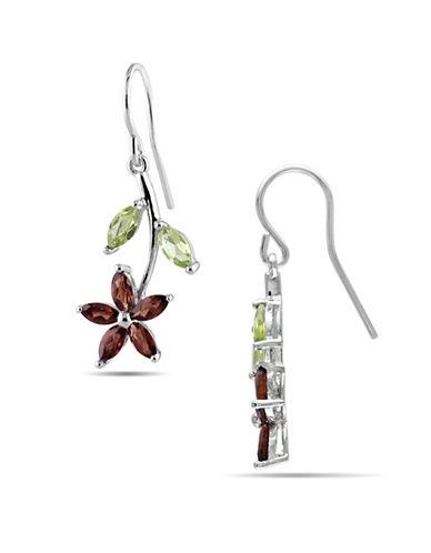 Concerto Sterling Silver Garnet and Peridot Flower Earrings-MULTI-One Size