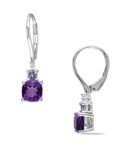 Concerto Amethyst and Tanzanite Sterling Silver 0.02 TCW Diamond Accent Dangle Earrings-AMETHYST-One Size