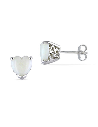 Concerto Opal Heart Sterling Silver Stud Earrings-WHITE-One Size