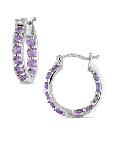 Concerto Sterling Silver Amethyst Hoop Earrings-PURPLE-One Size
