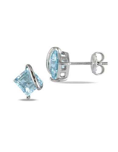 Concerto Sterling Silver Wrap Blue Topaz Stud Earrings-BLUE-One Size