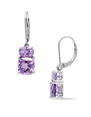 Concerto Sterling Silver Amethyst Dangle Earrings-PURPLE-One Size