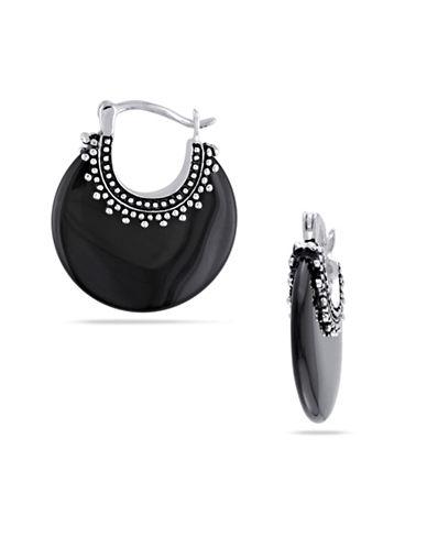 Concerto Sterling Silver Onyx Hoop Earrings-BLACK-One Size