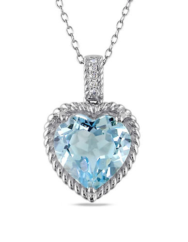 Concerto Sterling Silver Blue Topaz and 0.025TCW Diamond Heart Necklace-BLUE-One Size