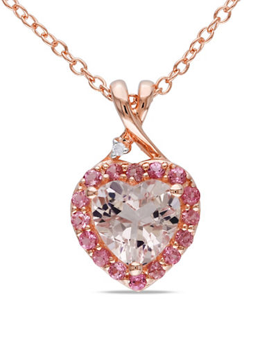 Concerto 0.005 TCW Diamond, Morganite and Pink Tourmaline Pinkplated Silver Necklace-PINK-One Size
