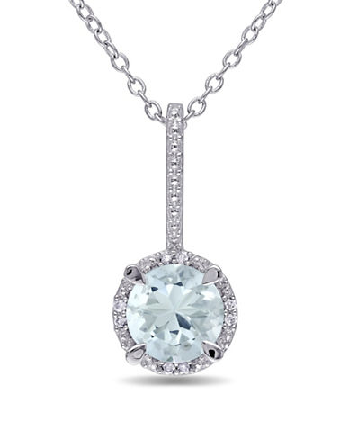 Concerto Aquamarine Sterling Silver and 0.03 TCW Diamond Halo Drop Necklace-BLUE-One Size