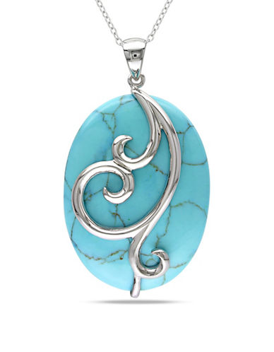 Concerto Sterling Silver Turquoise Swirl Pendant Necklace-TURQUOISE-One Size
