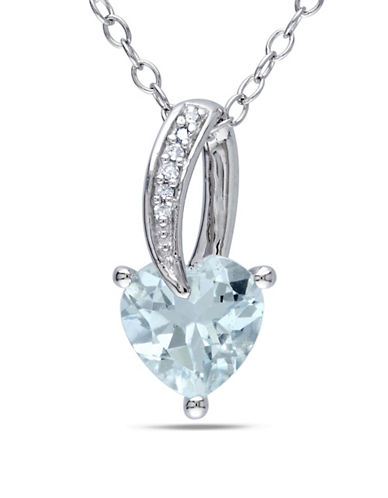 Concerto 0.018 TCW Diamond Heart and Aquamarine Sterling Silver Necklace-BLUE-One Size