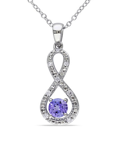 Concerto Tanzanite Sterling Silver and  0.10 TCW Diamond Infinity Necklace-TANZANITE-One Size