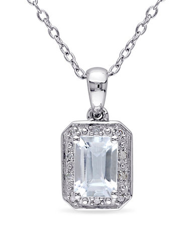 Concerto Aquamarine Sterling Silver and 0.04 TCW Diamond Pendant Necklace-BLUE-One Size