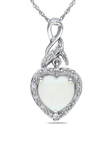 Concerto 0.06 TCW Diamond and Opal  Heart Sterling Silver Necklace-WHITE-One Size