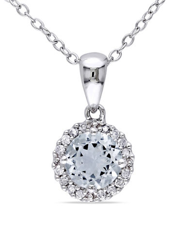 Concerto Aquamarine Sterling Silver and 0.10 TCW Diamond Halo Necklace-AQUAMARINE-One Size