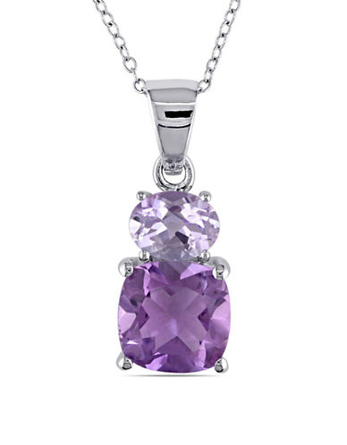 Concerto Sterling Silver Rose de France and Amethyst Pendant Necklace-PURPLE-One Size