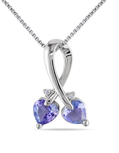 Concerto Tanzanite Sterling Silver and 0.007 TCW Diamond Heart Necklace-TANZANITE-One Size