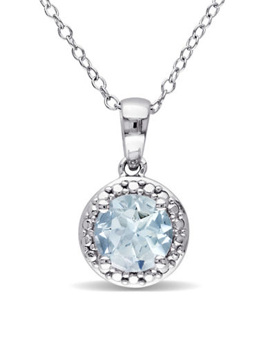 Concerto Aquamarine Halo Sterling Silver Necklace-BLUE-One Size