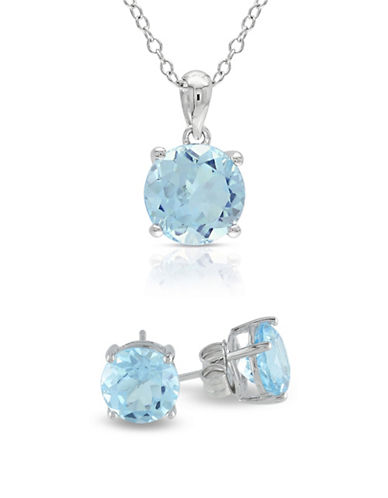 Concerto Blue Topaz Solitaire Sterling Silver Earrings and Necklace Set-BLUE-One Size