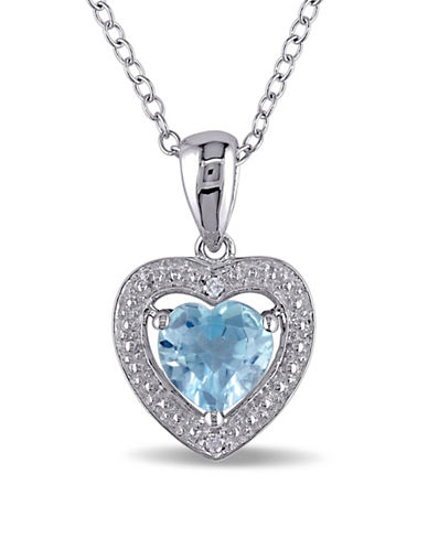Concerto Sterling Silver Blue Topaz and 0.01TCW Diamond Heart Necklace-BLUE-One Size