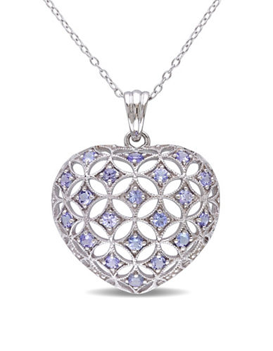 Concerto Tanzanite Sterling Silver Heart Pendant Necklace-BLUE-One Size