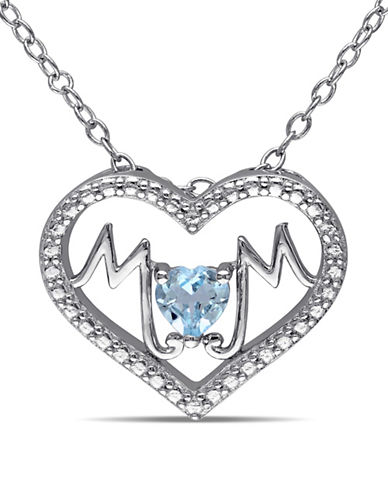 Concerto Blue Topaz Sterling Silver Heart MOM Necklace-TOPAZ-One Size