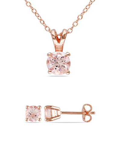 Concerto Morganite Pink Plated Silver Solitaire Earrings and Necklace Set-MORGANITE-One Size