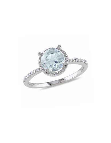 Concerto Aquamarine Sterling Silver and 0.05 TCW Diamond Halo Ring-BLUE-5