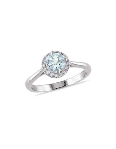 Concerto 0.10 TCW Diamond and Aquamarine Halo Sterling Silver Ring-BLUE-7