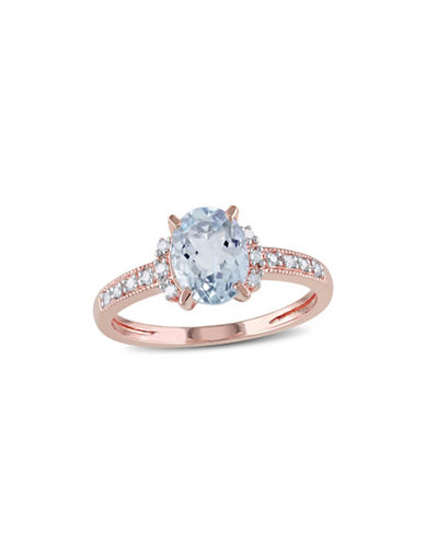 Concerto Aquamarine Pink-Plated Sterling Silver and  0.07 TCW Diamond Ring-AQUAMARINE-8