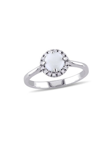 Concerto Opal Sterling Silver and 0.10 TCW Diamond Halo Ring-OPAL-6