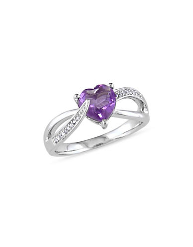 Concerto Amethyst Sterling Silver and 0.05 TCW Diamond Heart Ring-PURPLE-8