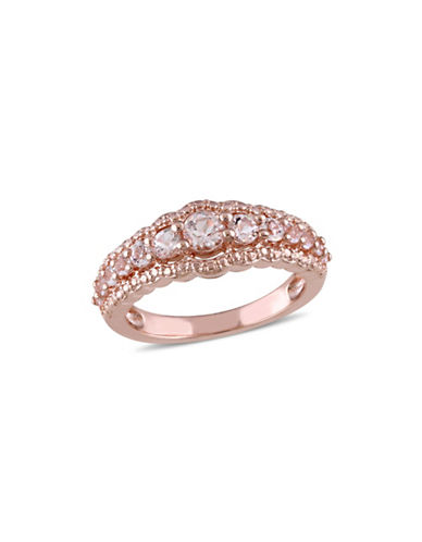 Concerto 1.05 TCW Morganite Graduated Pinkplated Sterling Silver Ring-PINK-9