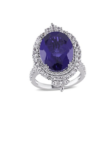 Concerto Tanzanite Quartz Sterling Silver and White Topaz Halo Cocktail Ring-TANZANITE-8